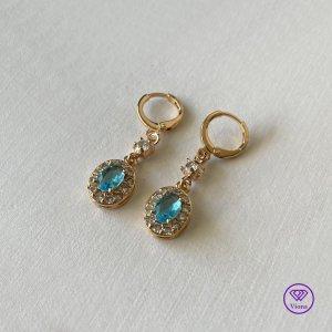 Dangle gold-colored-neon blue