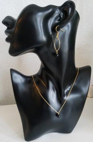18k Gold Kette mit Achat-Perle (Handgemacht)