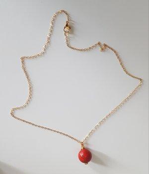 18k Gold Kette mit roter Perle (Handgemacht)