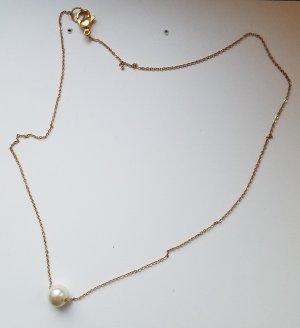 18k Gold Kette mit weißer Perle (Handgemacht)