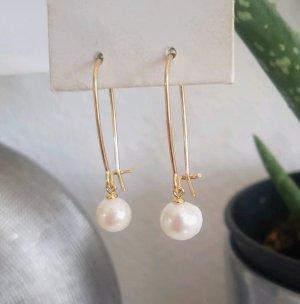 Hand made Pendientes de oro blanco-color oro