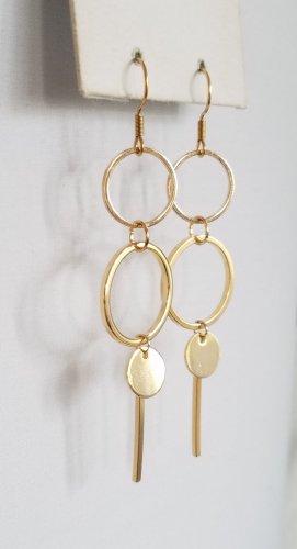 18k Gold Ohrring mit Kreisen und Plättchen (Handgemacht)
