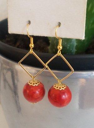 18k Gold Ohrringe mit Quadrat-Anhänger und roter Perle (Handgemacht)