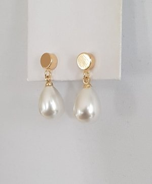 Hand made Boucles d'oreilles en perles blanc-doré