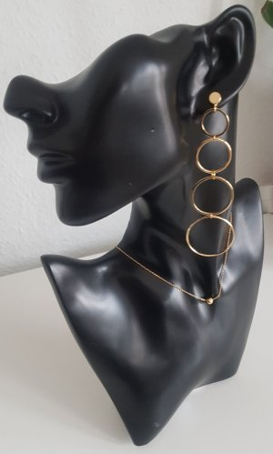 Hand made Statement Earrings gold-colored
