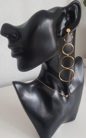 Hand made Boucle d'oreille incrustée de pierres doré