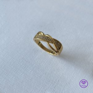 Viona Srebrny pierścionek złoto-biały