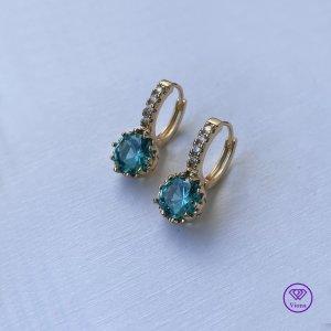 Viona Oorclips goud-neon blauw