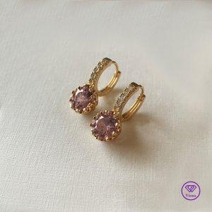 ♈️18K vergoldeter Ohrringe mit rundem rosa Kristall