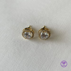 ♈️ 18K vergoldeter Sterlingsilber mit weißem rundem Zirkon