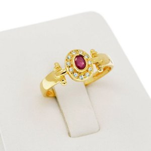 18Kt. Yellow Gold-Ring Ruby-Topaz
