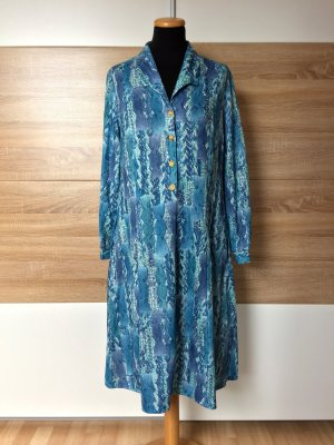 19051003 True vintage blaues langes Kleid, goldene Knöpfe, Gr. S-M