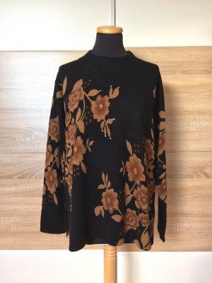 19112913 True Vintage schwarz Wolle Pullover Blumen, Gr. S-M