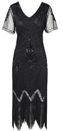 1920er Stil Kleid, schwarz, Perlen und Pailletten. Länge: Knielang