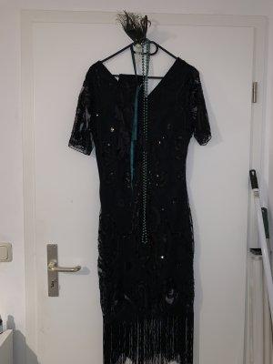 Vestido de lentejuelas negro-color plata