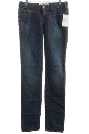 1921 Jeans coupe-droite bleu foncé-blanc cassé style décontracté