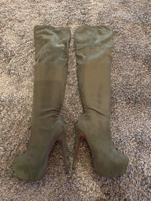 1969 Overknees dark green-magenta leather