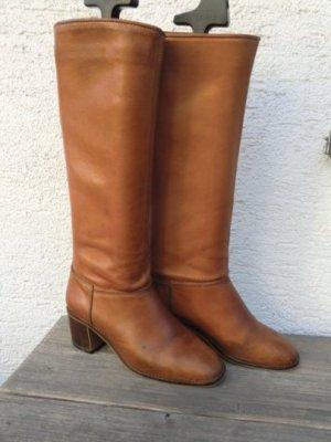 1970er Echtleder Stiefel braun echtes Leder Dolcis Brazil Boots True Vintage 70er 80er Jahre