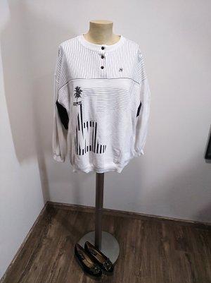 1980s Mäser Vintage Sweatshirt schwarz weiß Hawaii Print Gr. M/L
