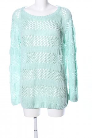 Crochet Sweater turquoise casual look