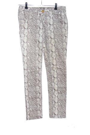 1982 Pantalon fuselé blanc cassé-gris clair motif animal style décontracté