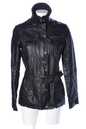 1982 Veste en cuir synthétique noir style décontracté