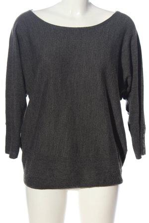 1982 Jersey de cuello redondo gris claro moteado look casual