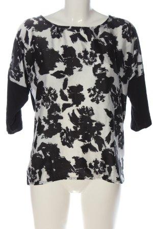 1982 Blusa caída negro-blanco estampado con diseño abstracto look casual