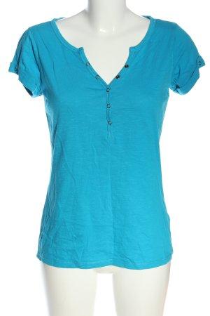 1982 Camisa con cuello V azul moteado look casual