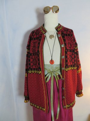 Vintage Norwegian Cardigan multicolored new wool