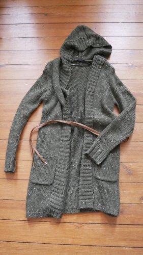 Set Knitted Coat green grey-khaki alpaca wool