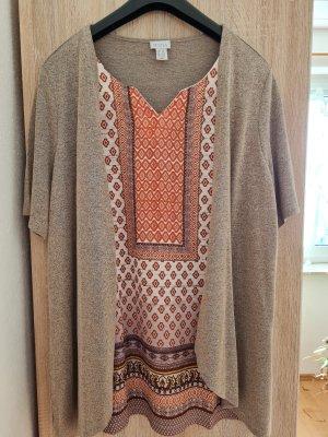 Mona Chaqueta estilo camisa marrón claro-naranja