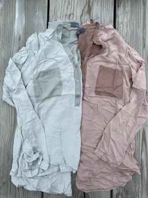 Chic & Mit Slip-over blouse lichtblauw-stoffig roze Viscose
