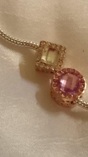 2 Charms für Armband oder Kette rosagold Farbe mit Strasssteine