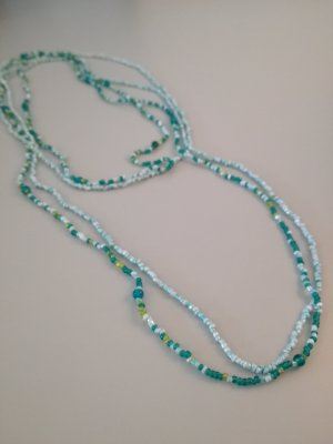 Vintage Pearl Necklace light blue-lime-green