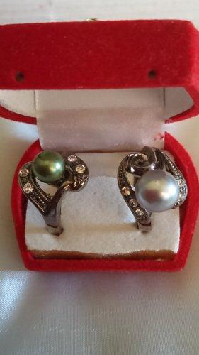 2 Edel Perlen Ringe rhodiniert mit Zirkonia Steinchen Gr .17 und 18