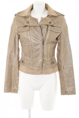 2 Elles Faux Leather Jacket brown quilting pattern casual look