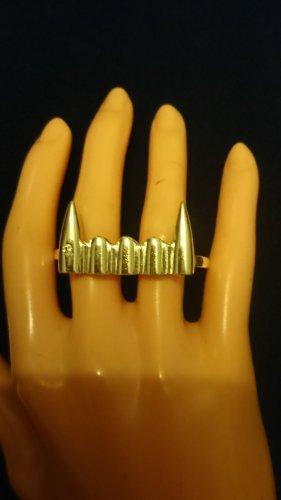 2 Finger Ring Steinles Steel mit 1 Zirkonia Steinchen Gr.17 ,18