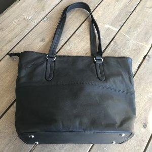 HSE 24 Torba shopper czarny-srebrny Skóra