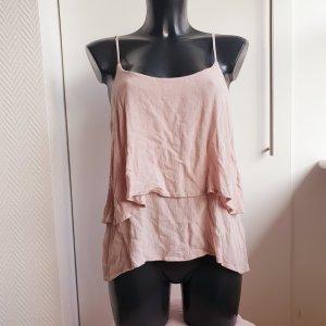 H&M Divided Top con balze rosso chiaro-rosa antico