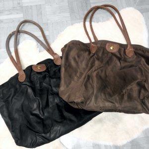 2 große Taschen braun und schwarz als Set