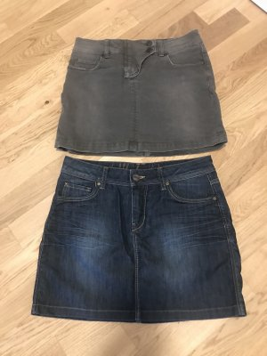 Hallhuber Denim Skirt green grey-dark blue