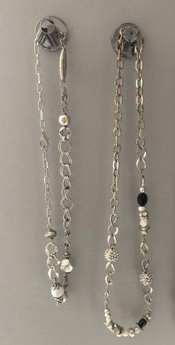 2 Halsketten silber, massive Ketten