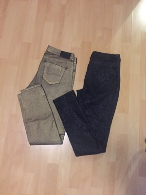 Pantalon taille basse bronze-noir