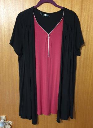 2 in 1 Damen Shirt mit Reißverschluss 42/44 schwarz rot