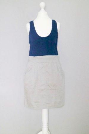 2-in-1 Kleid Gr. M mit Tanktop und Rock dunkelblau/taupe