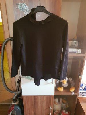2 in 1 pullover mit kragen schwarz