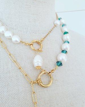 Kleines & Feines Collier de perles blanc-doré