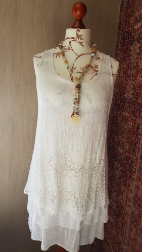 2-lagiges Kleid weiss Stickerei Onesize (38/40)