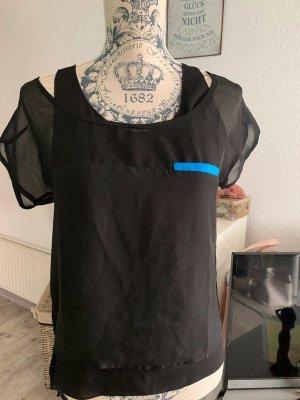 2-lagiges Shirt/Bluse - Black/Blue - Kurzarm - Größe 34 XS/S